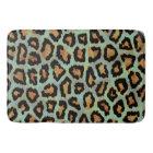 Teal leopard chic animal print bath mat