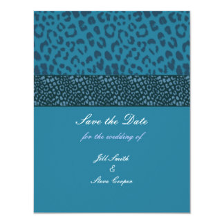 "Teal Leopard Pattern Save the Date 4.25"" X 5.5"" Invitation Card"