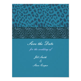 Teal Leopard Pattern Save the Date Personalized Invite