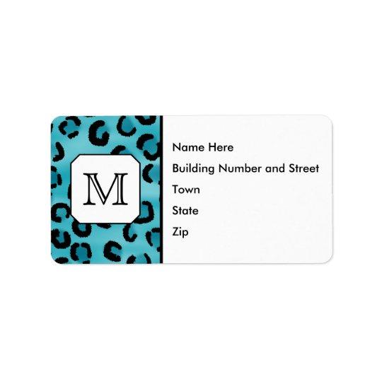 Teal Leopard Print, Custom Monogram.