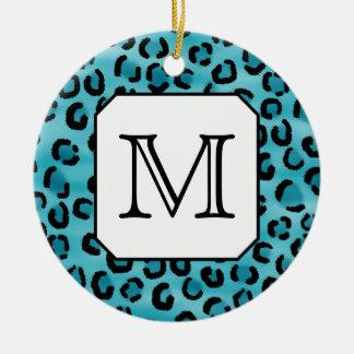 Teal Leopard Print, Custom Monogram. Ceramic Ornament