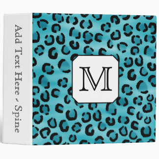 Teal Leopard Print, Custom Monogram. Vinyl Binders