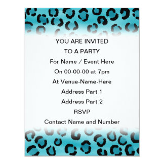 """Teal Leopard Print Pattern. 4.25"""" X 5.5"""" Invitation Card"""