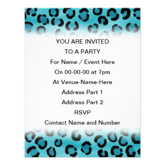 Teal Leopard Print Pattern. Invite