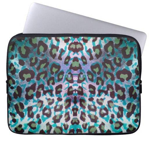 Teal Leopard Safari Print Laptop Sleeve