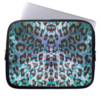 Teal Leopard Safari Print Laptop Computer Sleeve