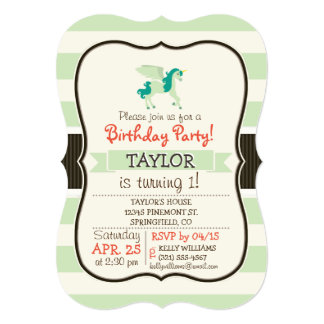 "Teal & Light Green Unicorn 5"" X 7"" Invitation Card"