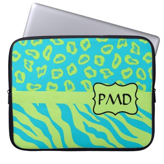 Teal, Lime Greem Zebra & Cheetah Personalized Laptop Sleeve