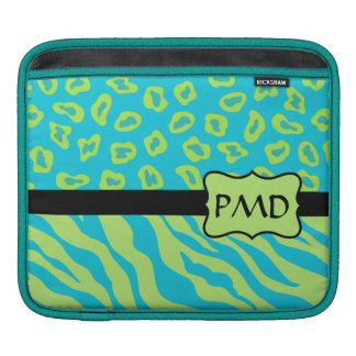 Teal, Lime Greem Zebra & Cheetah Personalized Sleeves For iPads