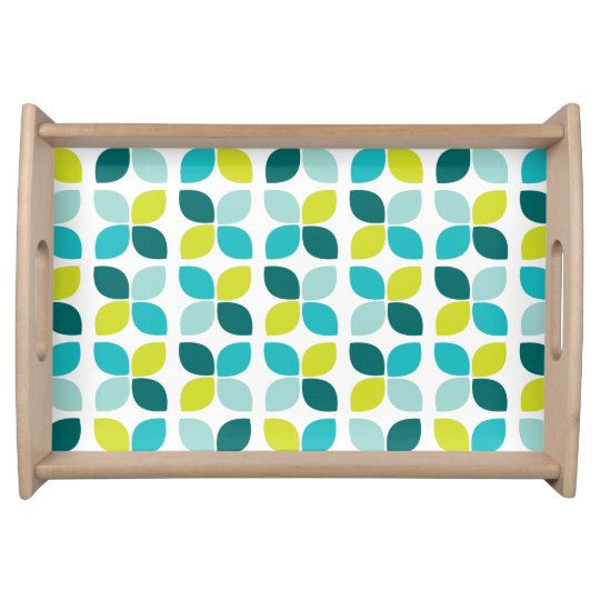 Teal Lime Green Flower Pattern Food Trays