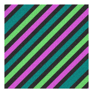 Teal Lime Green Hot Pink Glitter Striped Photographic Print