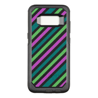 Teal, Lime Green, Hot Pink Glitter Striped STaylor OtterBox Commuter Samsung Galaxy S8 Case