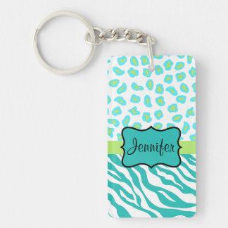 Teal Lime Green & White Zebra & Cheetah Skin Keychain
