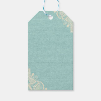 Teal Linen and Lace Gift Tag