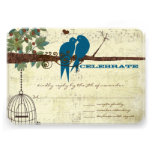 Teal Love Birds Sitting In a Tree Wedding RSVP