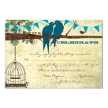 "Teal Love Birds Sitting In a Tree Wedding RSVP 3.5"" X 5"" Invitation Card"