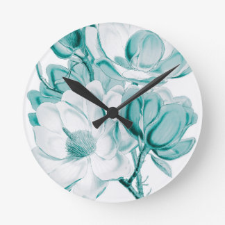 Teal Magnolia Dream Round Clock