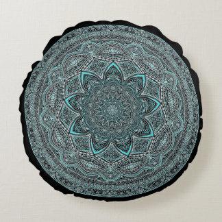 Teal Mandala Round Pillow