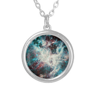 Teal Marble Cosmos Silver Plated Necklace