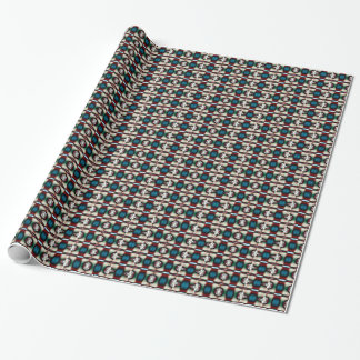 Teal Maroon Abstract Pattern Wrapping Paper