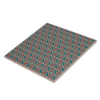 Teal, Maroon, Beige Ethnic Floral Pattern Tile