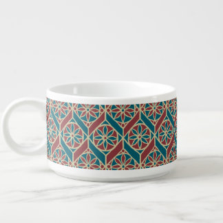Teal Maroon Beige Ethnic Pattern Flowers, Chevrons Bowl