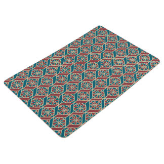 Teal Maroon Beige Ethnic Pattern Flowers, Chevrons Floor Mat
