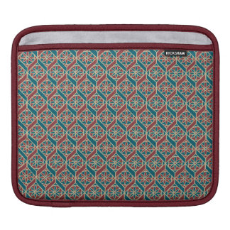 Teal Maroon Beige Ethnic Pattern Flowers, Chevrons iPad Sleeve