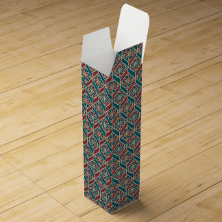 Teal Maroon Beige Ethnic Pattern Flowers, Chevrons Wine Gift Box