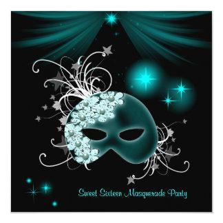 Teal Masks Sweet 16 Masquerade Party Card