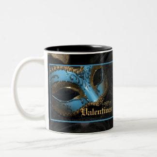 Teal Masquerade Mask Holiday Valentines Mug