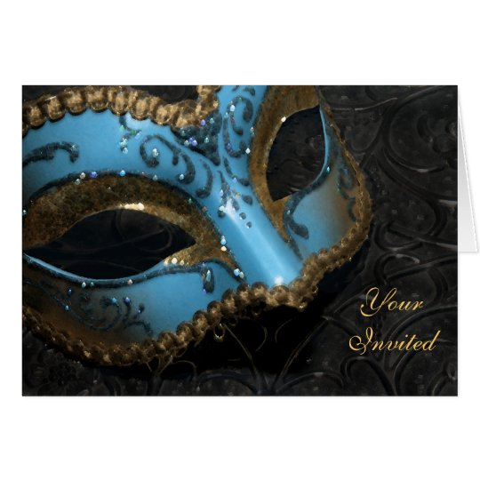 Teal Masquerade Mask Invitation Card