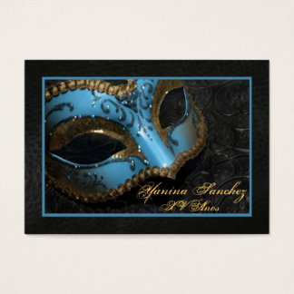 Teal Masquerade RSVP Business Cards