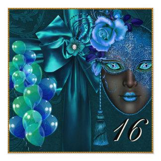 Teal Masquerade Venetian Mask Sweet 16 Invitation