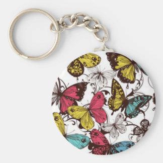 Teal Mauve Yellow Butterflies Keychain