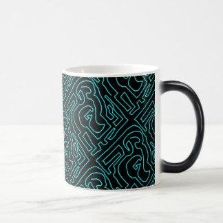 Teal Maze On Black Magic Morphing Mug