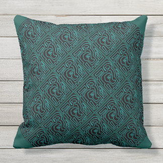 Teal Maze On Black Outdoor Jumbo Pillow
