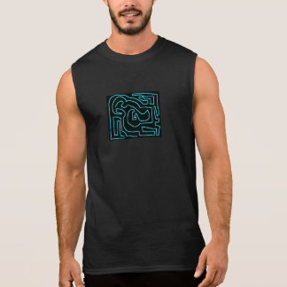 Teal Maze on Black Sleeveless Shirt