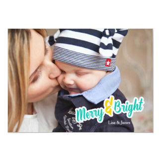 Teal Merry & Bright Photo Christmas Card