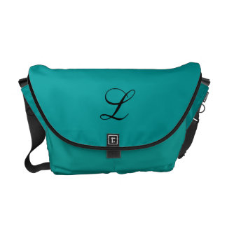 Teal messenger bag with initial