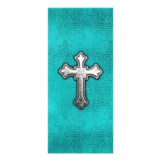 Teal Metal Cross Full Color Rack Card