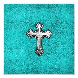 Teal Metal Cross Photograph