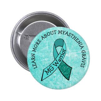 Teal MG Warrior Awareness Ribbon Button