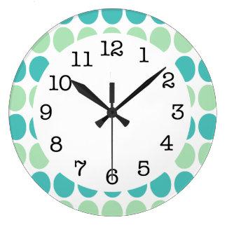 Teal & Mint Green Dots on White Modern Wall Clock