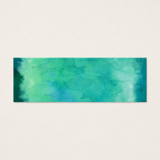 Teal Mint Green Watercolor Texture Pattern Mini Business Card