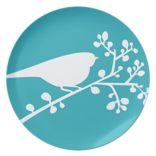 Teal Mod Single Bird & Berries {pick your colour} Plate