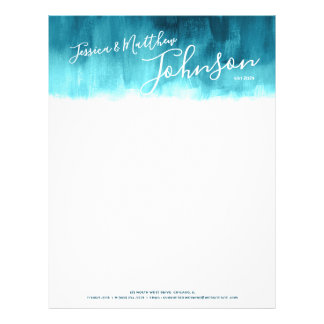 Teal modern abstract art newly weds letterhead