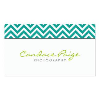 Teal Modern Chevron Stripes Business Card Template