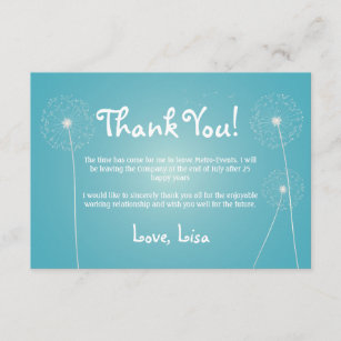 Teal Modern Dandelion Thank You Cards