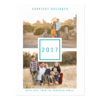 Teal Modern Double Photo Holiday Postcard